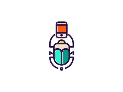 Scarab on Call crea insect identity branding logo mobile bird animal logogrid illustration chat scarab