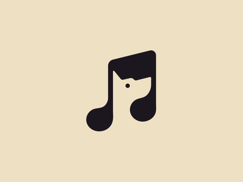 Music Dog negative space icon animal logotype music idea clever illustration identity branding dog logo
