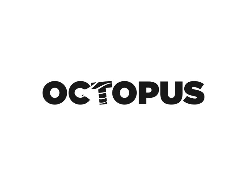 Octopus water simple minimal creative logotype type wordmark negative space octopus logo