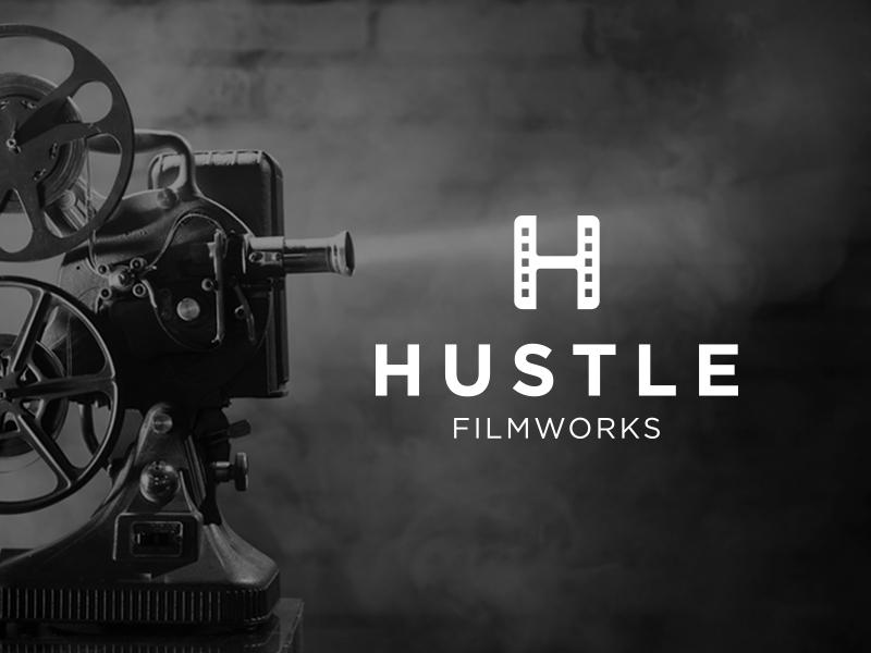 Hustle Filmworks Logo movies film monogram symbol mark identity branding idea icon logo