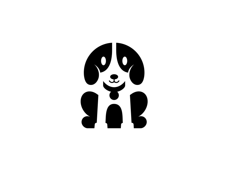 Dog Logo Mark symbol black funny cute animal illustration minimal icon logo mark dog