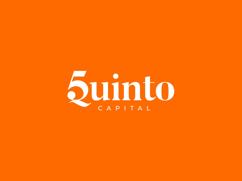 Quinto Capital Logo logo symbol mark house home home house word mark real estate five orange gradient smart brand branding icon