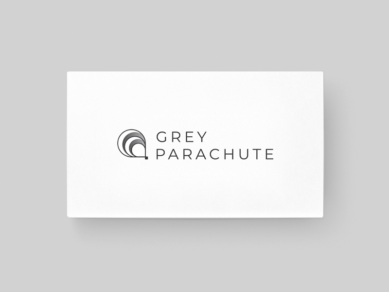 Grey Parachute Logo identity creative beautiful icon speed fly symbol modern minimal font parachute logo