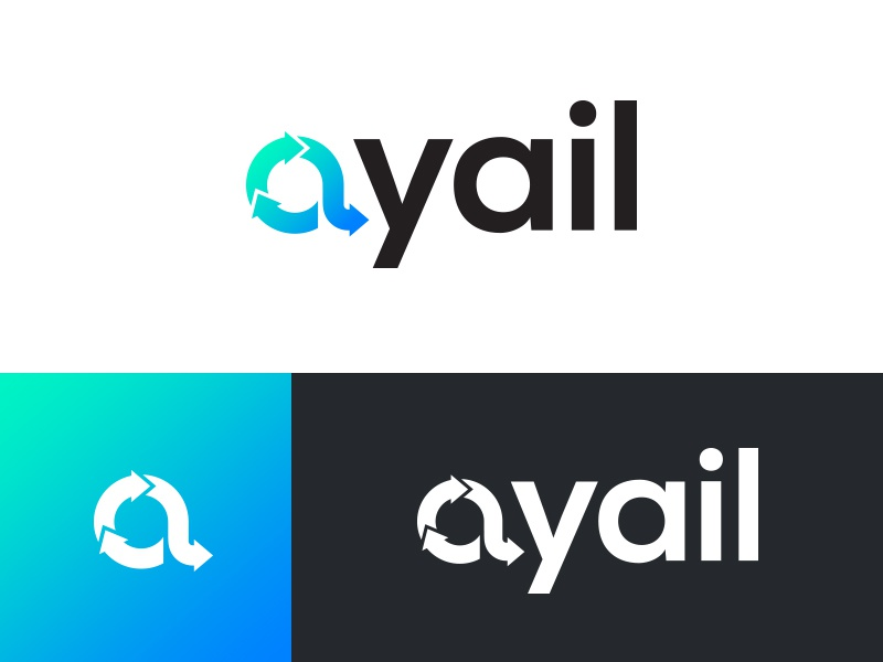 Ayail Logo flow logotype business corporate elegant type technology software crypto gradient color logo symbol mark brand branding icon