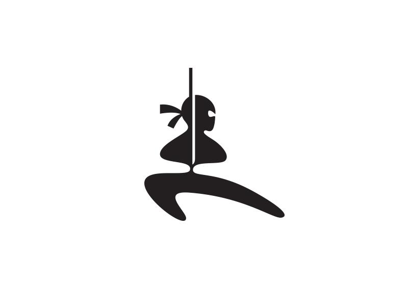 Ninja Logo Mark black simple minimal idea clever inspiration logos negative space brand branding identity health healthy ninja fighter fitness logo symbol icon