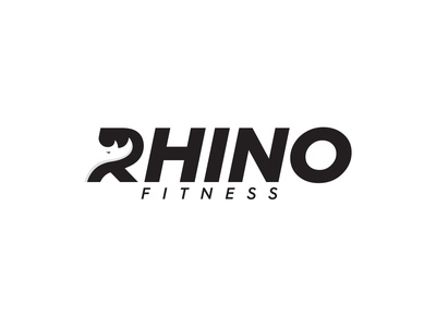 Rhino Fitness Logo minimal subtle simple speed fast powerful application modern monogram graphics design illustration negative space icon branding identity brand muscle exercise weight gym fitness health rhino animal animals logo logotype logos
