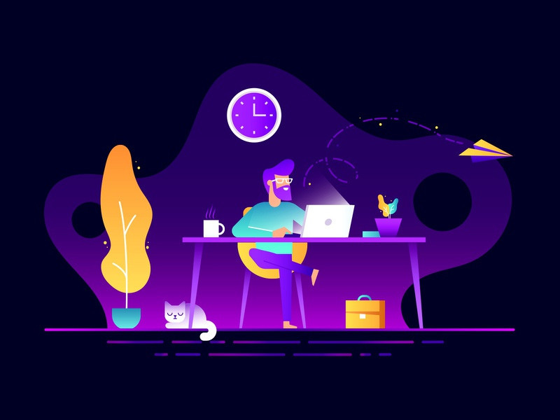 My Workspace Illustration branding identity sales color colorful art beautiful logo logo designer email nature creative idea subtle minimal adobe inspiration inspirational vector art dribbble cat ui ux web