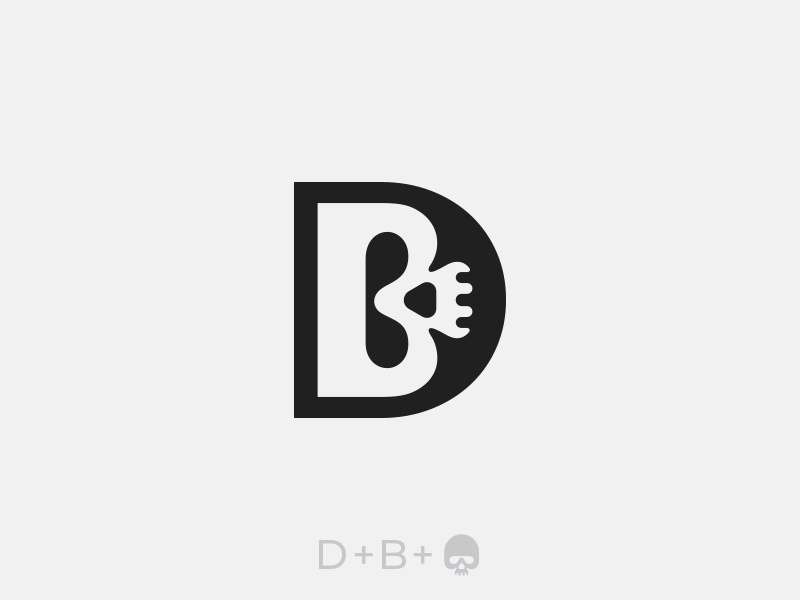 D + B + Skull Logo modern clean animal logo designer graphic designer illustration adobe illustrator ui ux web hidden meaning logos minimal subtle simple clever logotype creative negative space zara versace chanel letters typography d b icon symbol monogram skull logo brand branding clothing fashion style