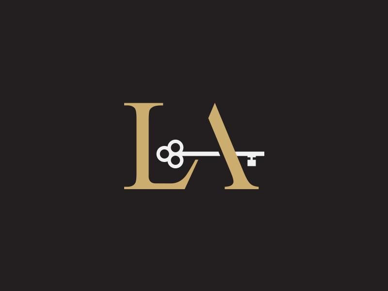 L A Luxury Listings Lettermark brand branding home gold black logos idea lettering logotype typography minimalist clever idea subtle logo designer creative minimal real estate home key gold symbol luxury house logo icon lettermark monogram