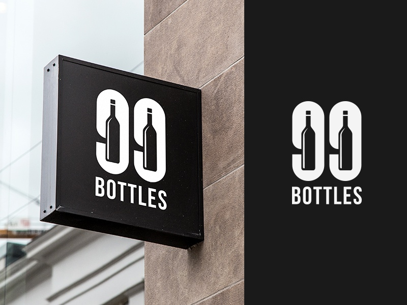99 Bottles - Bar & Bottle shop logo luxury pub cake drinks typography logotype ideas graphics black logo designer logos creative 99 bottles negative space food and drink beer brewery bar restaurant logo branding identity brands