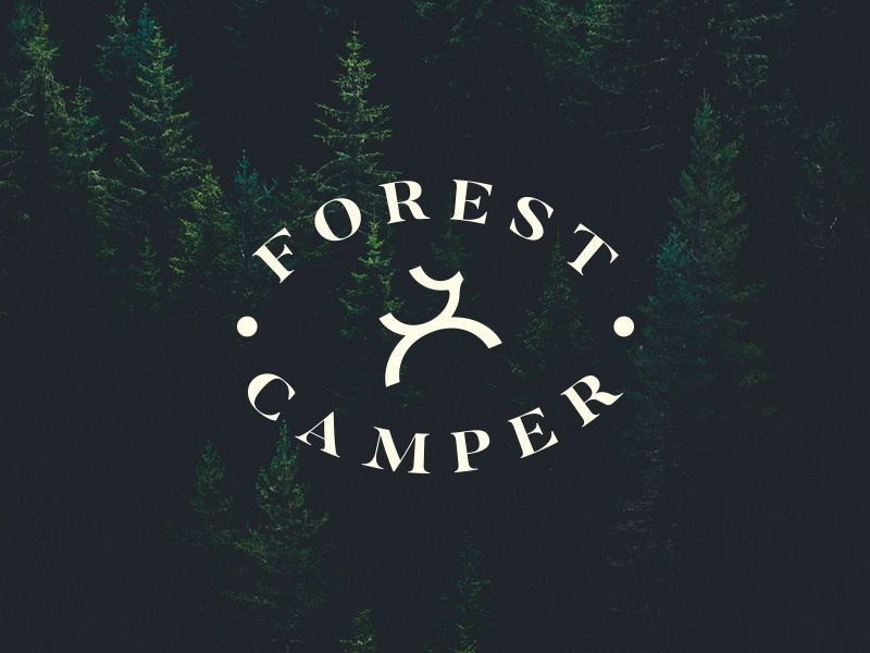 Forest Camper Logo inspirations symbol icon black logotype typography idea minimal brand branding identity camp campfire animal deer forest travel tour logo logos logo design