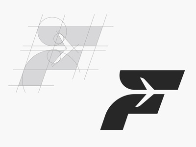 F for Flight Logo Construction Grid