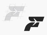 F for Flight Logo Construction Grid