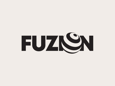 Fuzion Logo Design logo designer best top graphic graphics design circle round black type typography logos ideas subtle minimal hidden negative space creative identity fusion 3d globe business brand branding wordmark lettermark logotype logo icon symbol mark