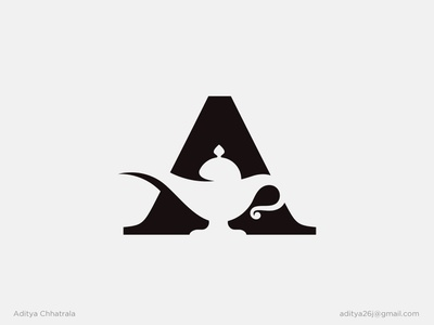A + Aladdin's Lamp - Logo Design mark logomark logodesigner modern minimal simple black lettermark typography logotype a logo monogram symbol icon branding illustration print
