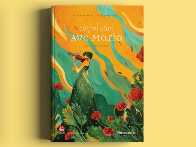 The violin for the Ave Maria  / KAGAWA YOSHIKO green violin poppies red asian memory colour collective colour and lines colour palette colour picker art book nguoidoitapbay love cover illustration drawing design bookcover buitam