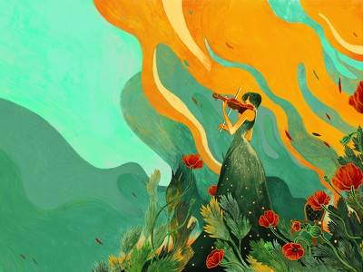 """Art work for """"The violin for the Ave Maria""""  KAGAWA YOSHIKO dribbble red violin women line art colour collective colour and lines colour palette colour picker coloful asian memory book love cover illustration drawing design bookcover buitam"""