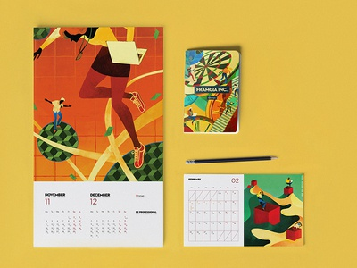 Framgia Calendar 2019 nguoidoitapbay asian dribbble colour and lines icon branding colour collective childhood typography colour palette cover vector logo memory colour picker drawing design bookcover illustration buitam