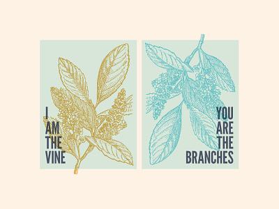 I Am The Vine interior design poster league gothic prints engraving