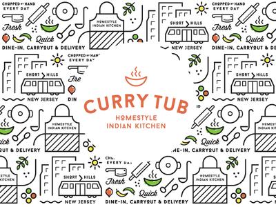 Restaurant Logo & Brand Pattern new jersey indian vector illustration pattern branding restaurant
