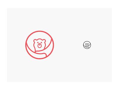 Baby Bear bear hug lines momma bear cub bear children branding logo icon