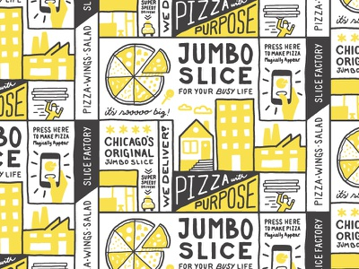 Brand Pattern for Slice Factory icons car home buildings jumbo slice pizza restaurant pattern handdrawn