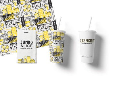 Packaging for Slice Factory branded packaging tray paper napkin cup