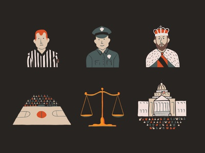 Understanding Government capitol scales basketball court policeman referee government king