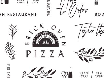 Mediterranean Pattern brick oven pizza restaurant design logo pattern