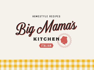 Big Mamas Logo kitchen italian silhouette 3d logo