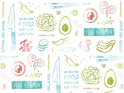 Poke + Ramen Pattern branding agency nyc long island pattern packaging typography handdrawn watercolor longitude restaurant branding brand pattern branding restaurant