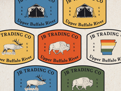 JB Trading Co pat midwest tent campground camping logo branding arkansas elk buffalo mountain patch