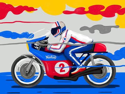 Norton 02 motorsport norton digital painting illustration
