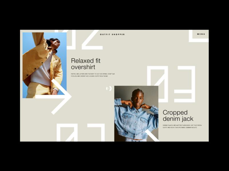 Exploration #13 experience shop fashion clothing sets outfits exploration design experiment ecommerce layout interface typography minimal webdesign ux ui