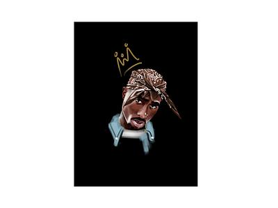 2-Pac king crown biggie smalls rap hiphop digital painting digital procreate portrait makaveli 2pac illustration