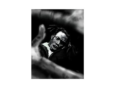 Denzel Curry gritty poster digital illustration procreateapp procreate rap hiphop portrait digital painting digital illustration