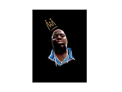 Notorious B.I.G. crown 2pac biggie smalls biggie rap hiphop procreateapp procreate potrait digital art digital painting digital king illustration