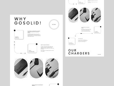 Gosolid!® grid outlines grey scale charger shop mockup grey linestyle lines design ecommerce exploration branding layout minimal webdesign ux ui