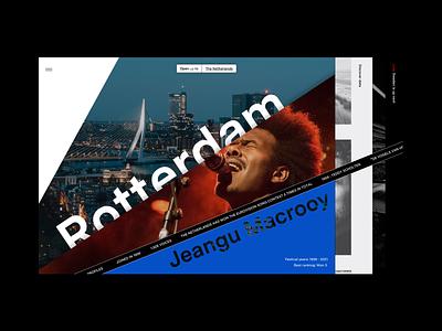 Event platform netherlands music platform layered diagonal blades layout branding design typography interface exploration rotterdam webdesign ux ui