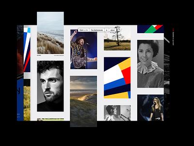 Event platform scroll grid layered blades slides filter experiment webdesign minimal branding interface exploration layout ux ui