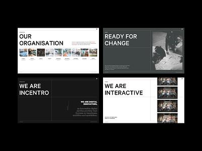 Interactive Pitch Deck interactive organisation neutral slides pitchdeck deck pitch presentation experiment typography exploration branding layout incentro minimal webdesign ux ui