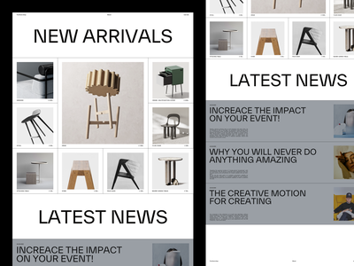Furniture shop latest news new arrivals news stool chair squares grid homepage overview furniture design exploration layout incentro minimal webdesign ux ui