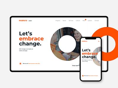 The new Incentro website change circle orange ux ui rebranding webdesign incentro