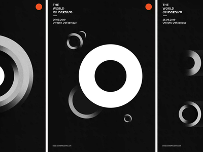 The World of Incentro | Posters minimalism modern vintage abstract gradient conference black  white blackandwhite incentro circles circle branding posters