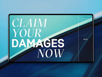 Claim your damages now promotion website web ux ui grid motion mockup car claim damages video