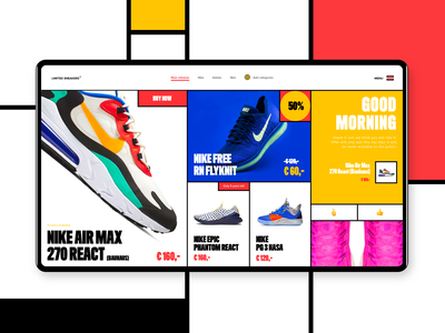 Limited Sneakers mondrianizm sneakers nike colorful bold bauhaus mondrianism mondrian ecommerce webdesign ux incentro ui