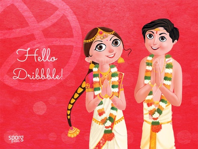 Hello Dribbbble from Sporg wedding card illustration invitation design indian wedding card wedding telugu