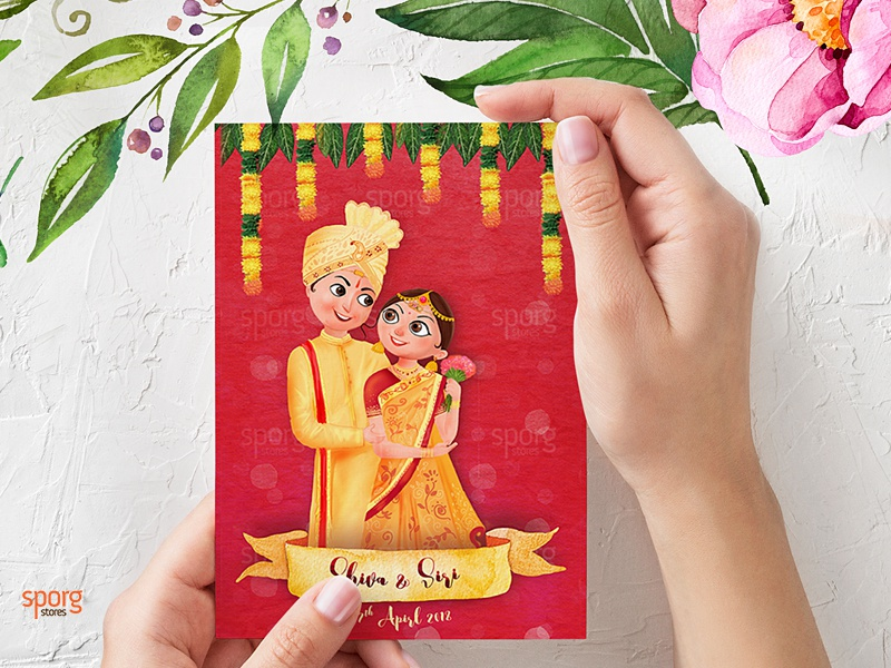 Illustrated Telugu Wedding Invitation By Sporg Stores On