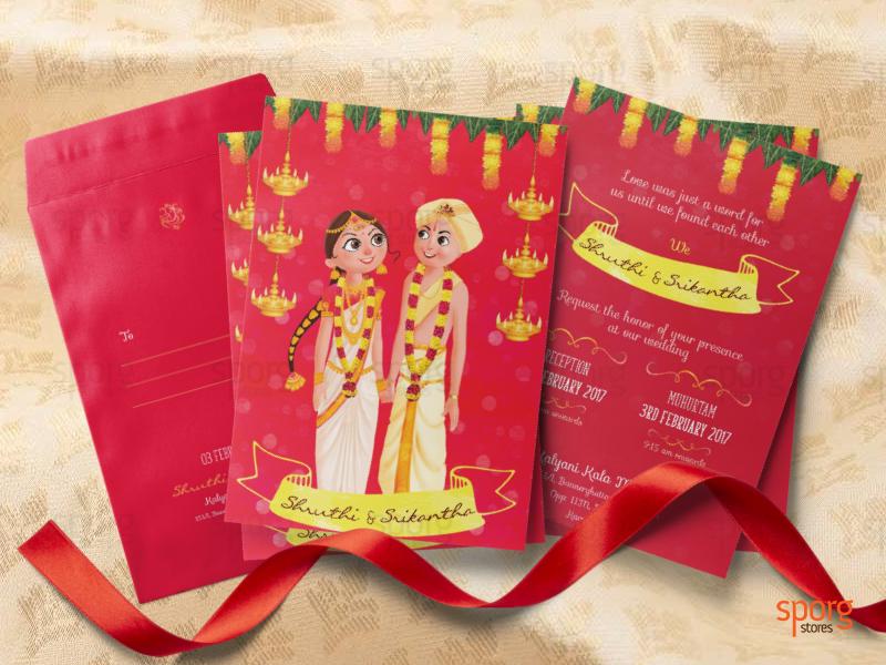 Illustrated Kannada Bhramin Wedding Invitation By Sporg