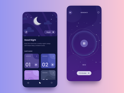 Meditation App UI concept dreams moon violet night player music relax meditation sleep mobile app design ui interface ios dark ui illustration ui concept dark theme design app
